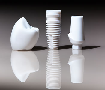Dental implants may be made of zirconia or titanium